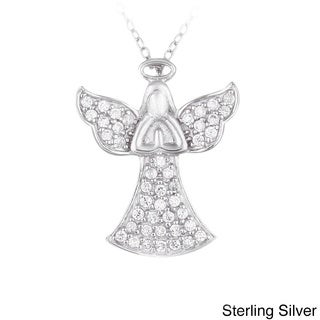 Crystal Ice Sterling Silver And Crystal Praying Angel Necklace with Swarovski Elements