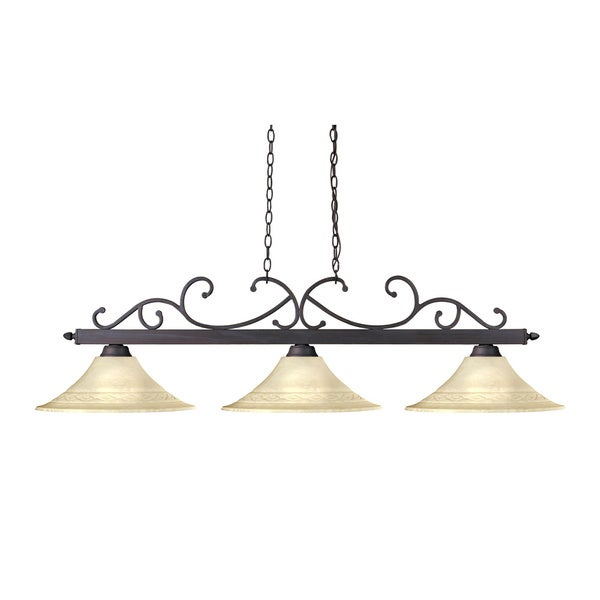 Copa 3-light Weathered Bronze Billiard Chandelier