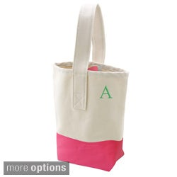 Bright Pink Color Dipped Canvas Wine Tote