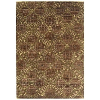 Safavieh Hand-knotted Castilian Brown/ Green Wool Rug (6' x 9')