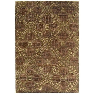 Safavieh Hand-knotted Castilian Brown/ Green Wool Rug (6' x 9')