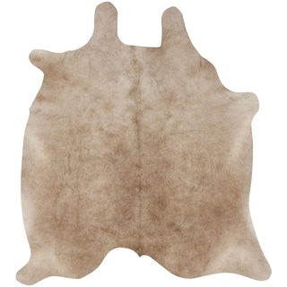 Safavieh Hand-picked Cow Hide Beige Leather Rug (4'6 x 6'6)