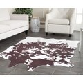 Safavieh Faux Cowhide Brown/ White Polyester Rug (5' x 6'6)