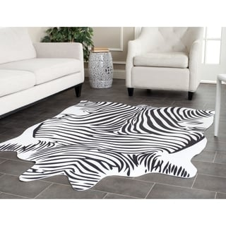 Safavieh Faux Zebra Black/ White Polyester Rug (5' x 6'6)