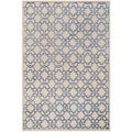 Safavieh Hand-knotted Mosaic Cream/ Purple Wool/ Viscose Rug (4' x 6')
