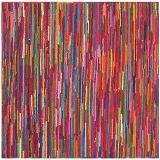 Safavieh Handmade Nantucket Abstract Pink/ Multi Cotton Rug