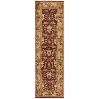 Safavieh Hand-knotted Oushak Red/ Green Wool Rug (3' x 10')