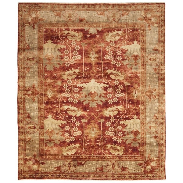 9 X 12 Nourison Nourmak Hand Knotted 100 Wool Persian: Safavieh Hand-knotted Oushak Red/ Green Wool Rug (10' X 14