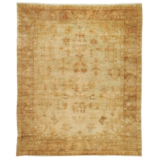 Safavieh Hand-knotted Oushak Soft Green/ Rust Wool Rug (9' x 12')