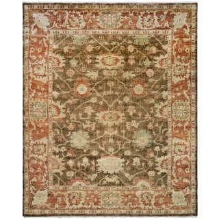 Safavieh Traditional Hand-Knotted Oushak Brown/ Rust Wool Rug (9' x 12')