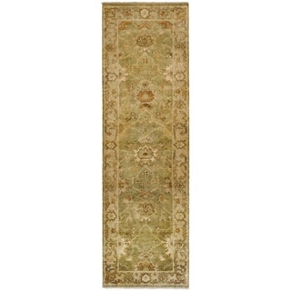 Safavieh Hand-knotted Oushak Green/ Beige Wool Rug (3' x 10')