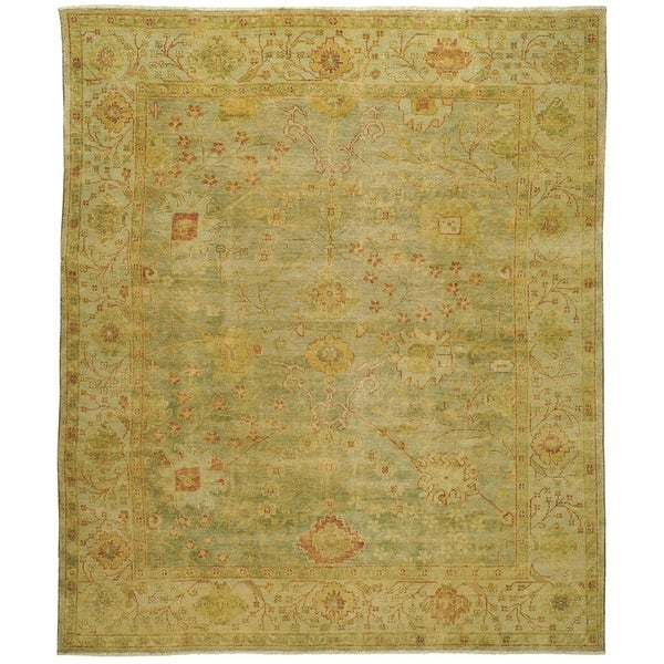 Safavieh Hand-knotted Oushak Dark Green/ Light Green Wool Rug (10' x 14')