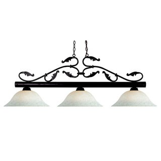 Bourbon White Mottle Glass 3-light Bronze Chandelier