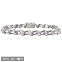 Glitzy Rocks Brass Gemstone and Diamond Accent San Marco Bracelet