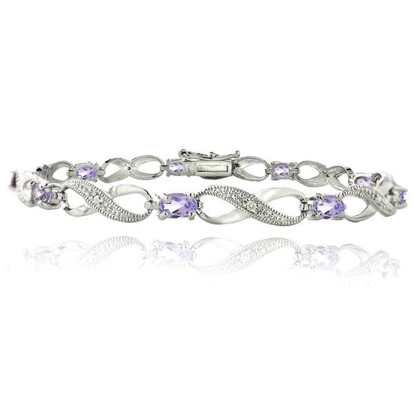 Glitzy Rocks Silvertone Gemstone and Diamond Accent Infinity Link Bracelet 11604067