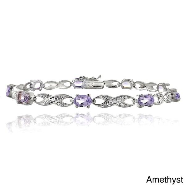 Glitzy Rocks Brass Gemstone and Diamond Accent Infinity Bracelet 11604073