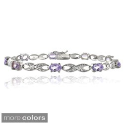 Glitzy Rocks Brass Gemstone and Diamond Accent Infinity Bracelet