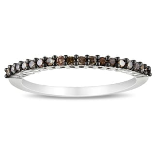 Miadora 14k White Gold Brown Diamond Stackable Band Ring