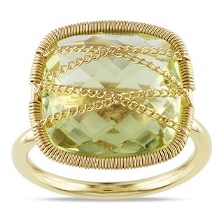 Miadora Yellow Gold Plated Silver Lemon Quartz Cocktail Ring