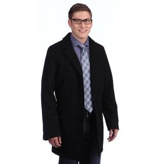 Tommy Hilfiger Men's Black Button-up Wool Blend Coat