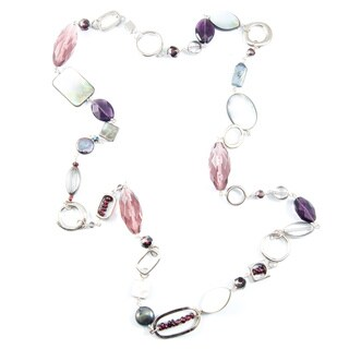 Garnet, Crystal and Mother of Pearl Necklace (China)