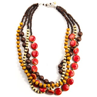 Red, Brown and Tan Four-Strand Ceramic, Stone, and Wood Necklace (China)