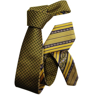 Dmitry Men's Gold Patterned Double-sided Italian Silk Tie