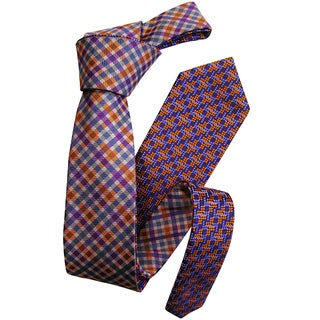 Dmitry Men's Purple Patterned Double-sided Italian Silk Tie