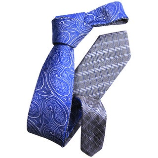Dmitry Men's Blue Patterned Double-sided Italian Silk Tie