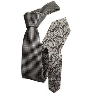 Dmitry Men's Grey Patterned Double-sided Italian Silk Tie