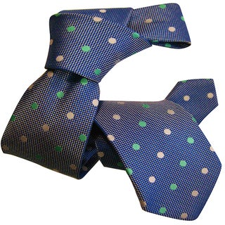 Dmitry Boy's Blue Patterned Italian Silk Woven Tie