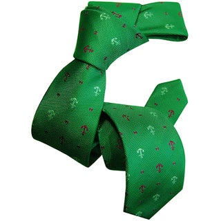 Dmitry Boy's Green Anchor-Patterned Italian Silk Woven Tie