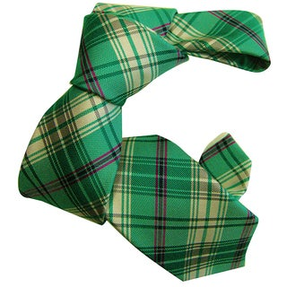 Dmitry Boy's Green Patterned Italian Silk Woven Tie