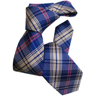 Dmitry Boy's Blue Classic-Patterned Italian Silk Woven Tie