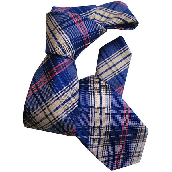 Dmitry Boy's Blue Classic-Patterned Italian Silk Woven Tie