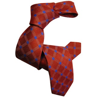 Dmitry Boy's Orange Patterned Italian Silk Woven Tie