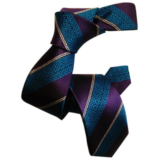 Dmitry Boy's Purple Striped Italian Silk Woven Tie