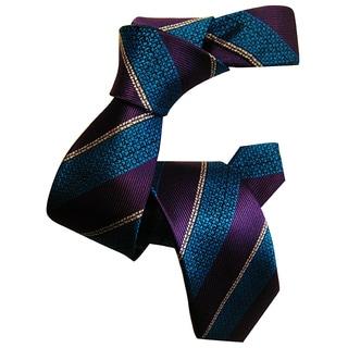 Dmitry Boy's Purple Striped Italian Silk Woven Tie