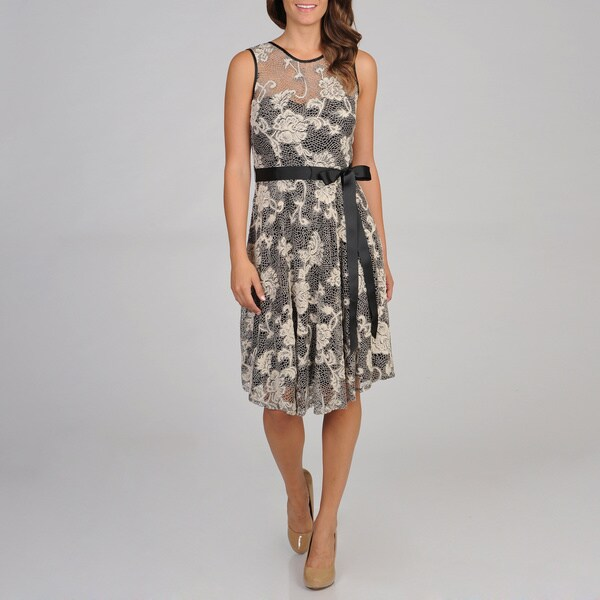 R & M Richards Women's Fit and Flare Lace Overlay Dress