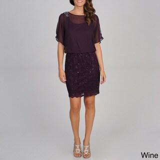 R & M Richards Women's Blouson and Lace Dress