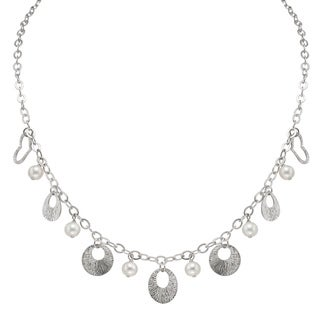 Pearlyta Sterling Silver FW Pearl Ball and Heart Charm Necklace (6-7 mm)