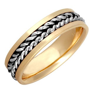 14k Two-tone Gold Men's Handmade Comfort-fit Rope Wedding Band