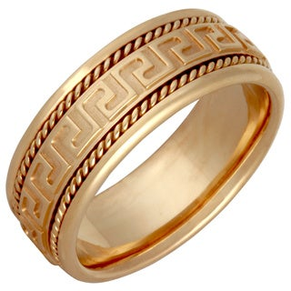 14k Yellow Gold Men's Handmade Grecian Key Comfort-fit Wedding Band