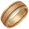 14k Yellow Gold Men's Handmade Grecian Key Comfort-fit Wedding Band