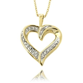 Pretty Plus 14k Yellow Gold Overlay Diamond Accent Heart Necklace