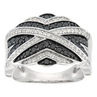 D'sire Sterling Silver 3/4ct TDW White and Black Diamond Ring (I, SI1-SI2)