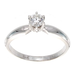 Victoria Kay 14k White Gold 1/3ct TDW Diamond Solitaire Engagement Ring (E-F, SI2-SI3)