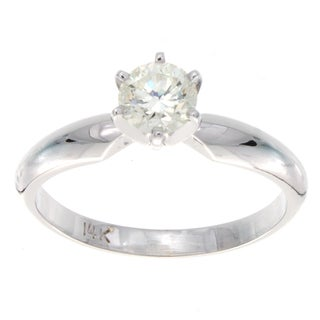 14k White Gold 1/2ct TDW Diamond Solitaire Engagement Ring (H-I, SI2-SI3)