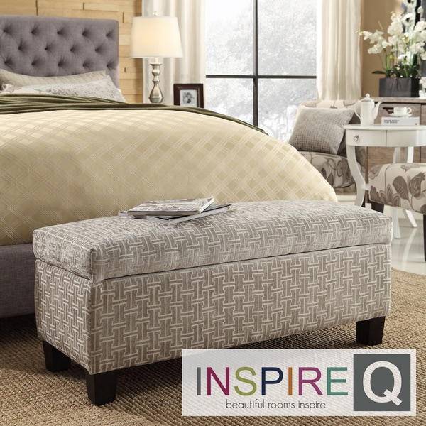 INSPIRE Q Sauganash Grey Link Lift Top Storage Bench