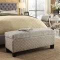 Kayla Grey Bracket Chain Fabric Ottoman